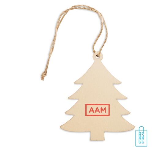 Kerstboomhanger hout kerstboom bedrukken met logo, kerstgeschenken bedrukken