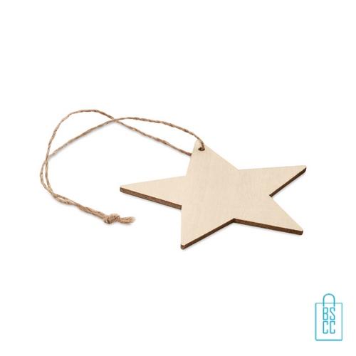 Kerstboomhanger hout ster bedrukt met logo, kerstgeschenken bedrukken