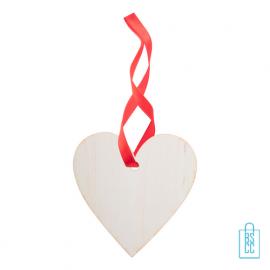 Kersthanger hout rood lint hartje bedrukken, kerstgeschenken bedrukt