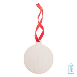 Kersthanger hout rood lint kerstbal bedrukken, kerstgeschenken bedrukt