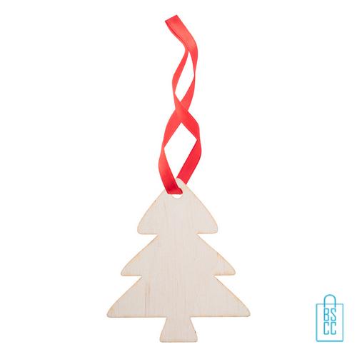 Kersthanger hout rood lint, kerstgeschenken bedrukt