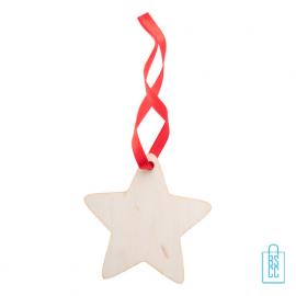 Kersthanger hout rood lint ster bedrukken