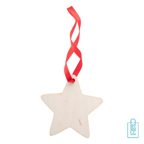 Kersthanger hout rood lint ster bedrukken, kerstgeschenken bedrukt
