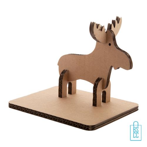 Kerstkaart 3D rendier duurzaam golfkarton, kerstgeschenken bedrukt