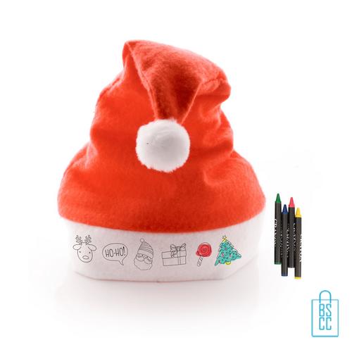 Kerstmuts waskrijt inkleuren bedrukken, kerstgeschenken bedrukt