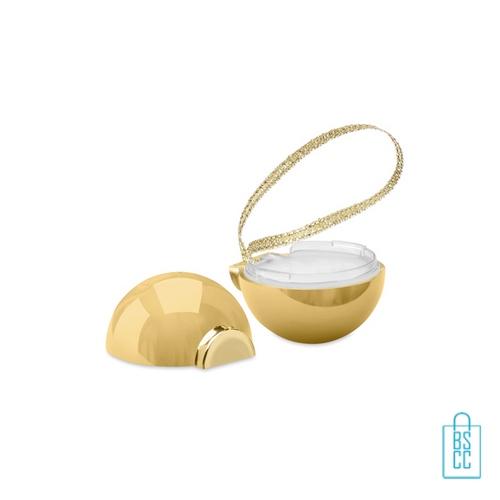 Lippenbalsem kerstbal bedrukt goud, kerstgeschenken bedrukken