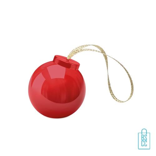 Lippenbalsem kerstbal bedrukt zilver lint, kerstgeschenken bedrukken