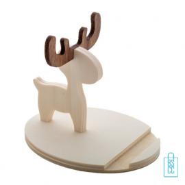 Mobielhouder rendier hout bedrukken duurzaam, kerstgeschenken bedrukt