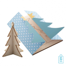 Papieren kerstkaart 3D puzzel kerstboom bedrukken, kerstgeschenken bedrukt