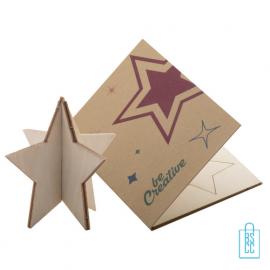 Papieren kerstkaart op maat creatief kerst ster, kerstgeschenken bedrukt