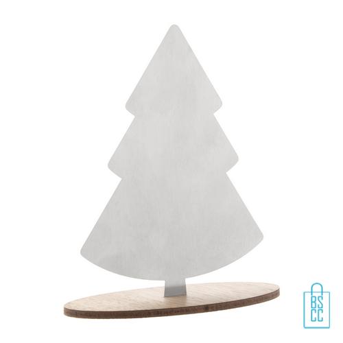 RVS deco kerstboom walnotenvoet bedrukken, kerstgeschenken bedrukt