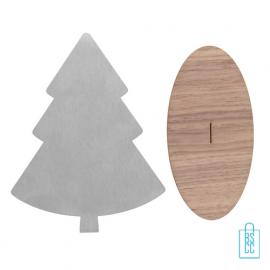 RVS deco kerstboom walnotenvoet met logo, kerstgeschenken bedrukt