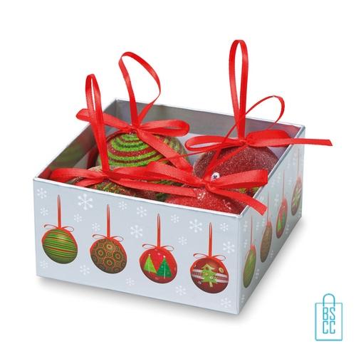 Set kerstballen geschenkset bedrukken in doos, kerstgeschenken bedrukken