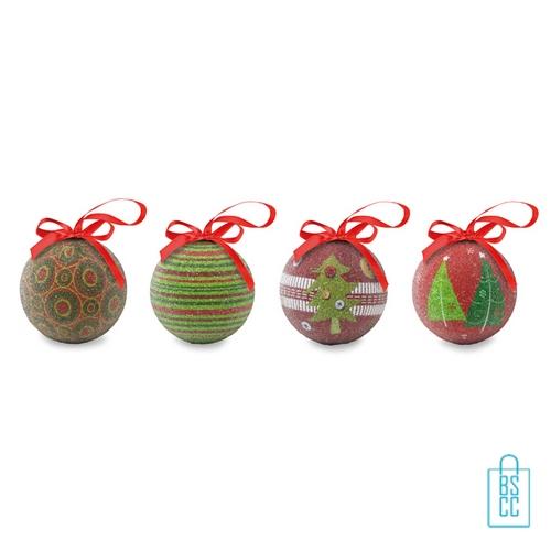 Set kerstballen geschenkset bedrukken rood groen, kerstgeschenken bedrukken