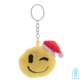 Sleutelhanger emoticon kerst knipoog, relatiegeschenk kerst logo