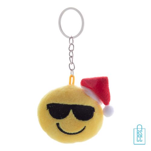 Sleutelhanger emoticon kerst zonnebril, relatiegeschenk kerst logo