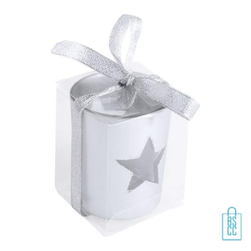 Theelichthouder kerstster bedrukken zilveren verpakking, goedkope kerst promo