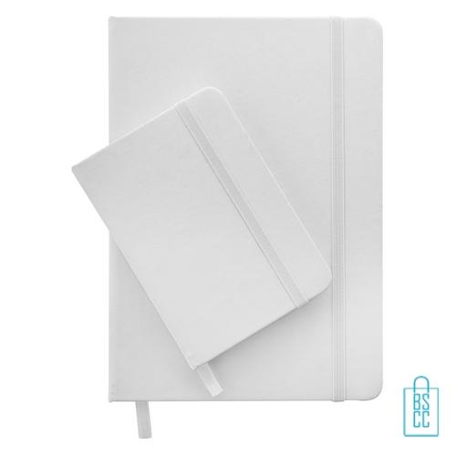 Antibacterieel notitieboekje A7 rubber band bedrukken logo, corona kantoorartikelen