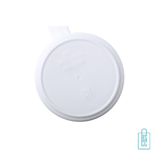 Antibacteriële plastic mok bedrukt met logo, antibacteriële relatiegeschenken