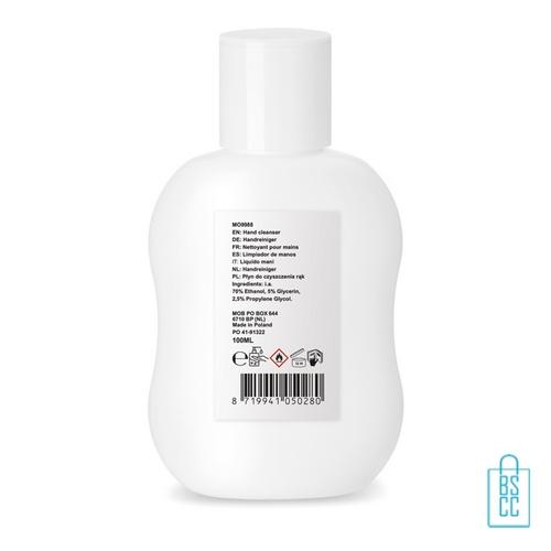Desinfectie hand 70% alc. 100 ml bedrukt achterzijde, desinfectie artikelen goedkoop