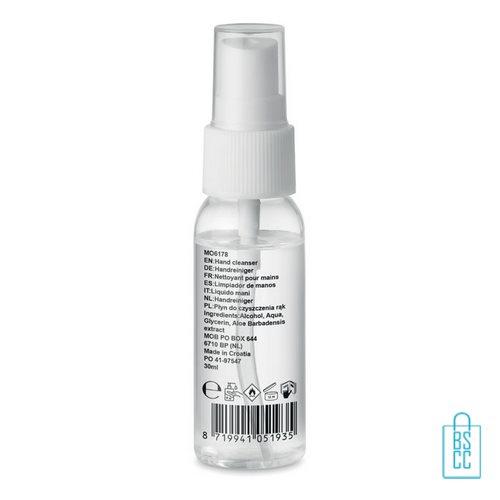 Desinfectie handspray 30ml 70% alc full bedrukken, desinfectie artikelen goedkoop