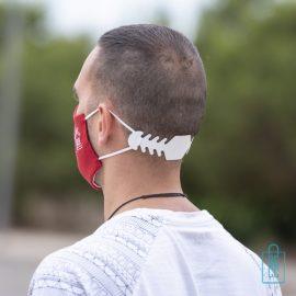 Gezichtsmaskerverlenger oordruk vermindering bedrukken rood, mondkapje goedkoop