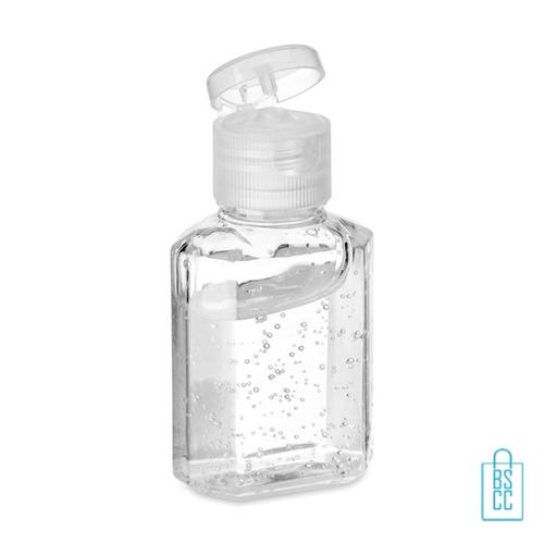 Handreinigingsgel alcoholvrij 30ml bedrukt flip dop, desinfectie artikelen goedkoop