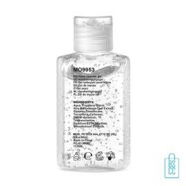 Handreinigingsgel alcoholvrij 60ml bedrukken achterzijde label, desinfectie artikelen goedkoop