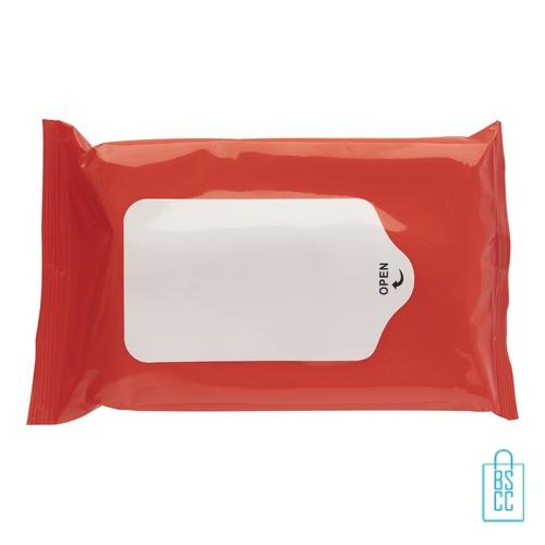 Hygiene natte doekjes bedrukken rood, corona veiligheid artikelen