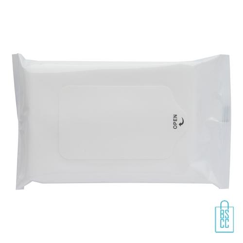 Hygiene natte doekjes bedrukken wit, corona veiligheid artikelen