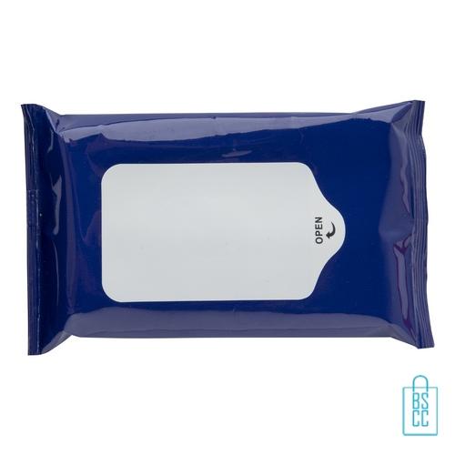Hygiene natte doekjes bedrukt blauw, corona veiligheid artikelen
