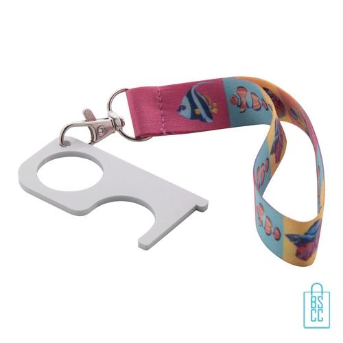 Hygiëne sleutel polsband bedrukt op maat, corona veiligheid artikelen