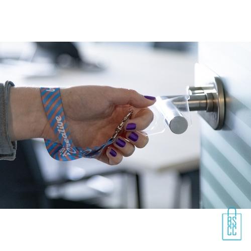Hygiëne sleutel polsband bedrukt transparant, corona veiligheid artikelen