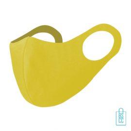 Mondkapje kinderen herbruikbaar bedrukken geel, mondkapjes goedkoop
