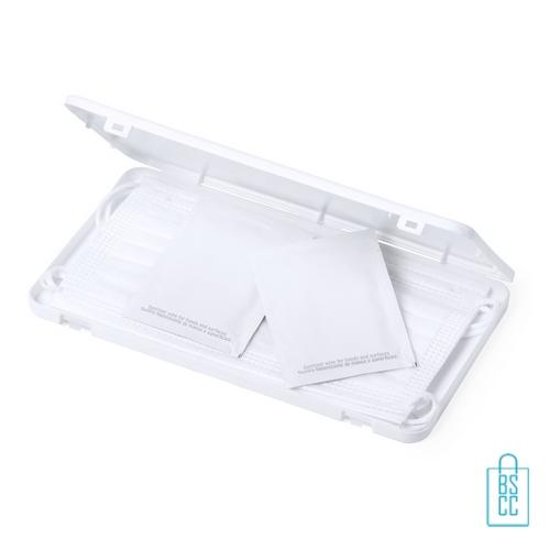 Mondkapje opbergdoosje plastic bedrukken relatiegeschenk, mondkapjes goedkoop