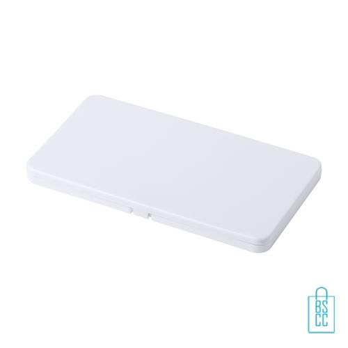 Mondkapje opbergdoosje plastic bedrukken wit, mondkapjes goedkoop