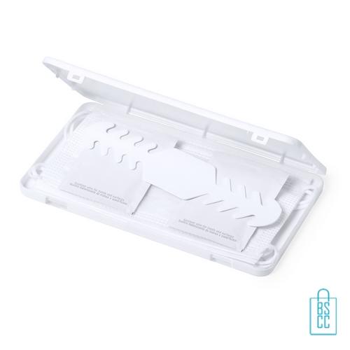 Mondkapje opbergdoosje plastic bedrukt promo, mondkapjes goedkoop