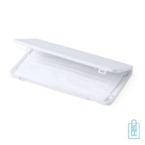 Mondkapje opbergdoosje plastic bedrukt witte, mondkapjes goedkoop
