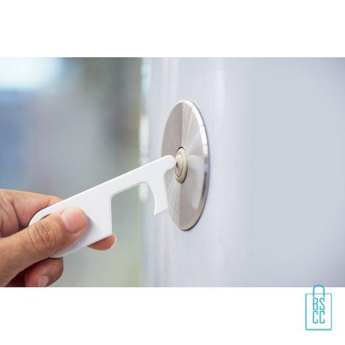 No touch ABS-sleutelhanger knoppen bedienen zonder handen wit, desinfectie artikelen goedkoop