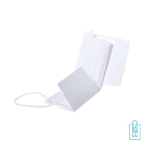 Opbergdoosje mondkap kunststof bedrukken kleur wit, corona proof producten