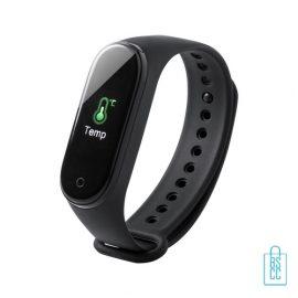 Smartwatch thermo hartslag bedrukt met logo, corona preventie artikelen
