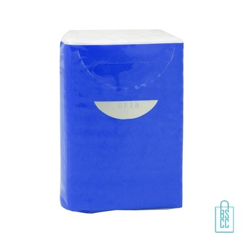 Tissue pakje bedrukken blauw, corona preventie artikelen