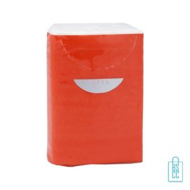 Tissue pakje bedrukken rood, corona preventie artikelen