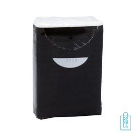 Tissue pakje bedrukken zwart, corona preventie artikelen