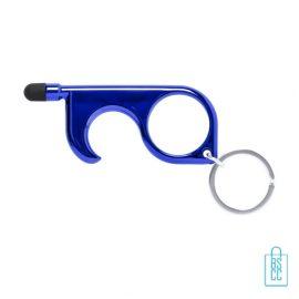 Touch screen hygiëne sleutel bedrukken blauw, corona preventie artikelen