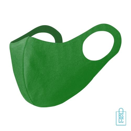 Wasbaar softshell gezichtsmasker bedrukken groen, mondkapjes bedrukken