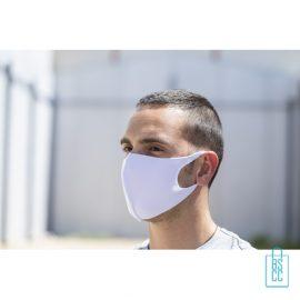 Wasbaar softshell gezichtsmasker bedrukken wit vb, mondkapjes bedrukken