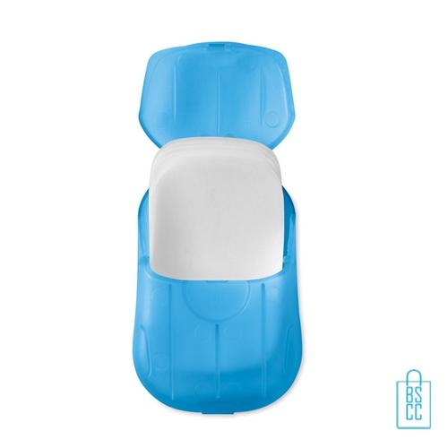 Zeepblaadjes doosje bedrukken blauw, zeep bedrukken