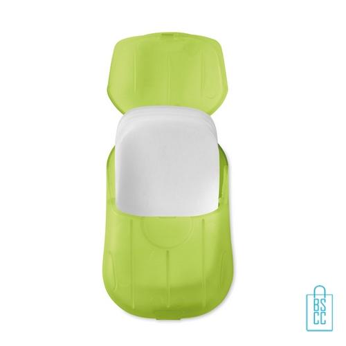 Zeepblaadjes doosje bedrukken goedkoop, zeep bedrukken