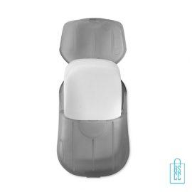 Zeepblaadjes doosje bedrukken transparant grijs, zeep bedrukken